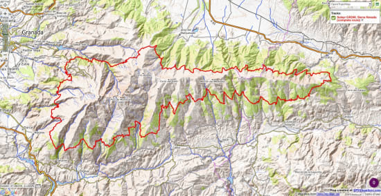Map of the GR240 Sulayr, Sierra Nevada