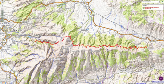 Map shopwing the nortehrn section of the Sulayr GR240 long distance path