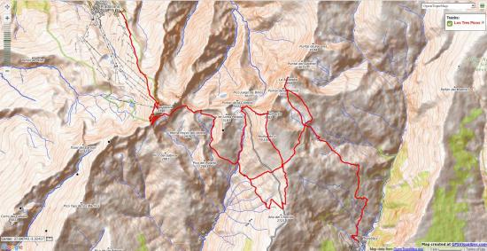 Map of Los Tres Picos trek in Sierra Nevada