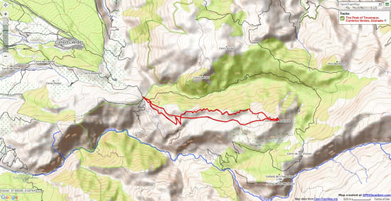 Map of a great day ascent of a peak from Granada
