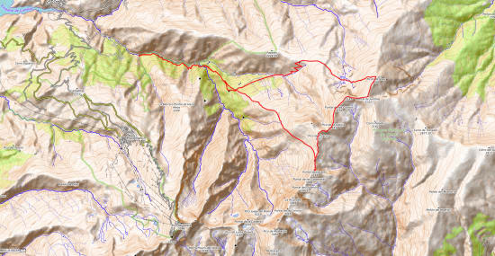 Map of the round of the northern peaks and valley of the Rio Vadillo