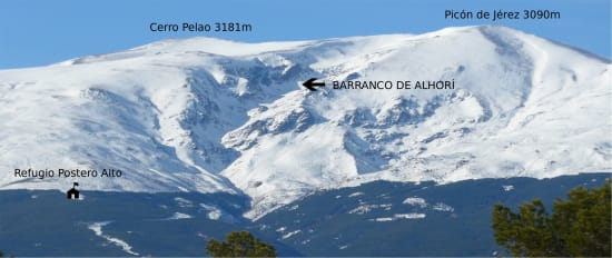Location of the refuge and climbing