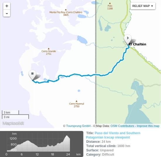 paso del viento trekking map