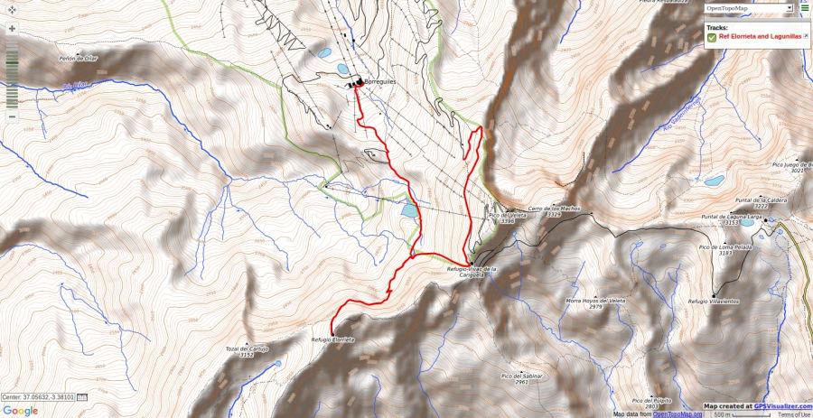 Map showing route to Refugio Elorrieta