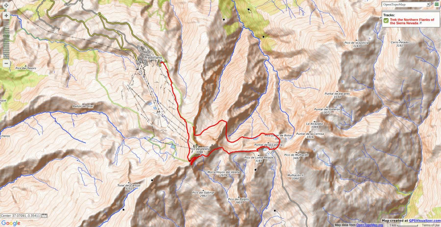 Map of route across Northern side of Sierra Nevada
