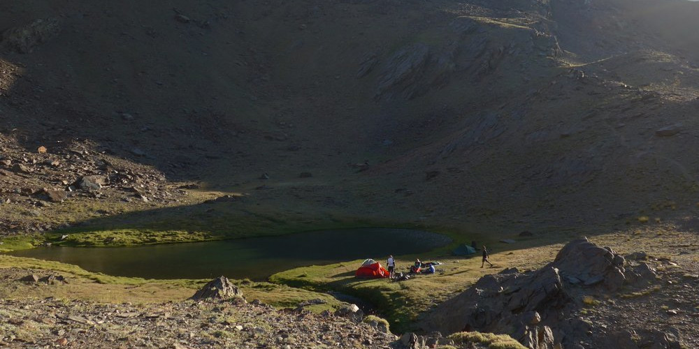Camp by sheltered lagunas