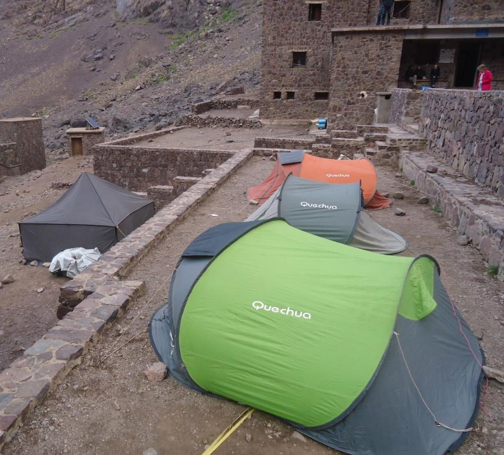 Camp set at the base of Toubkal