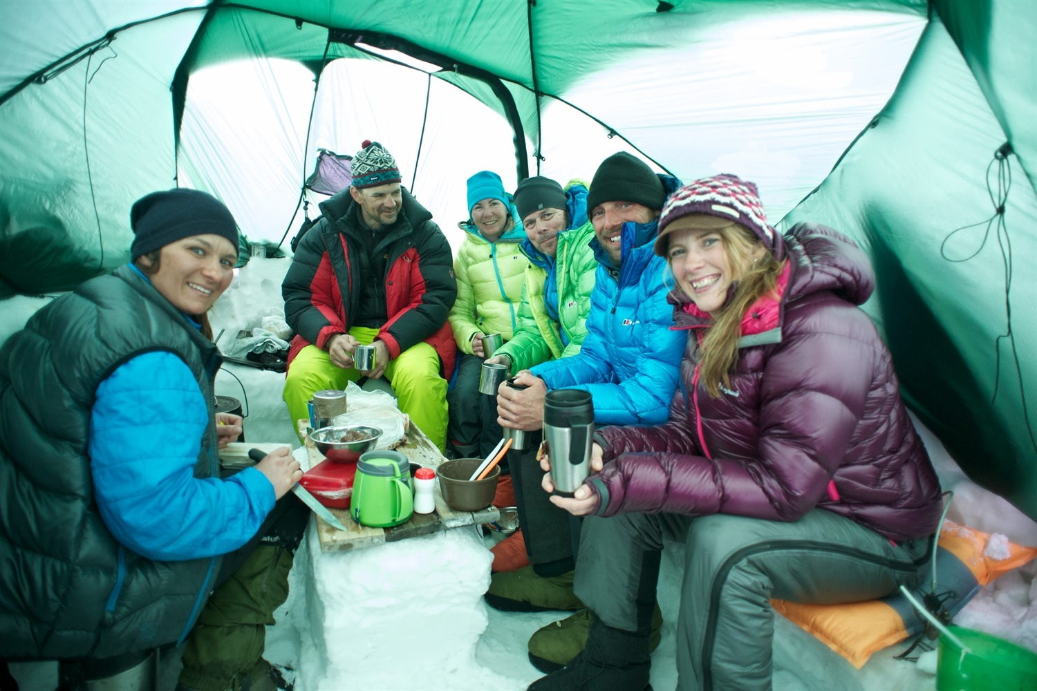 In the kitchen tent having dinner. Photo courtesy of Martin Hartley