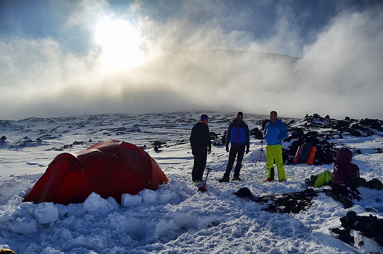 Base camp established, enjoying the views