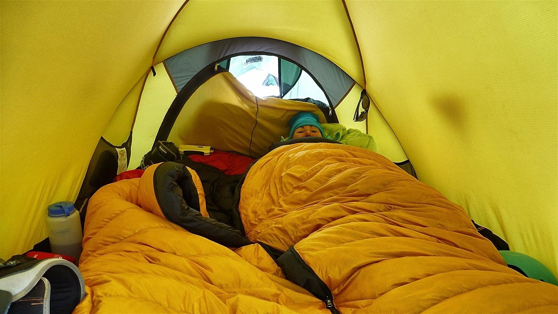 Warming my feet up in my sleeping bag