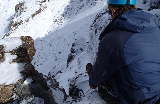 Mountaineering gully climbing