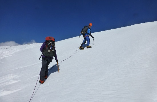 Traversing Snow Slope, Expedition Training