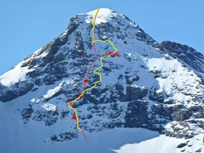 Route taken up the east face Los Mchos