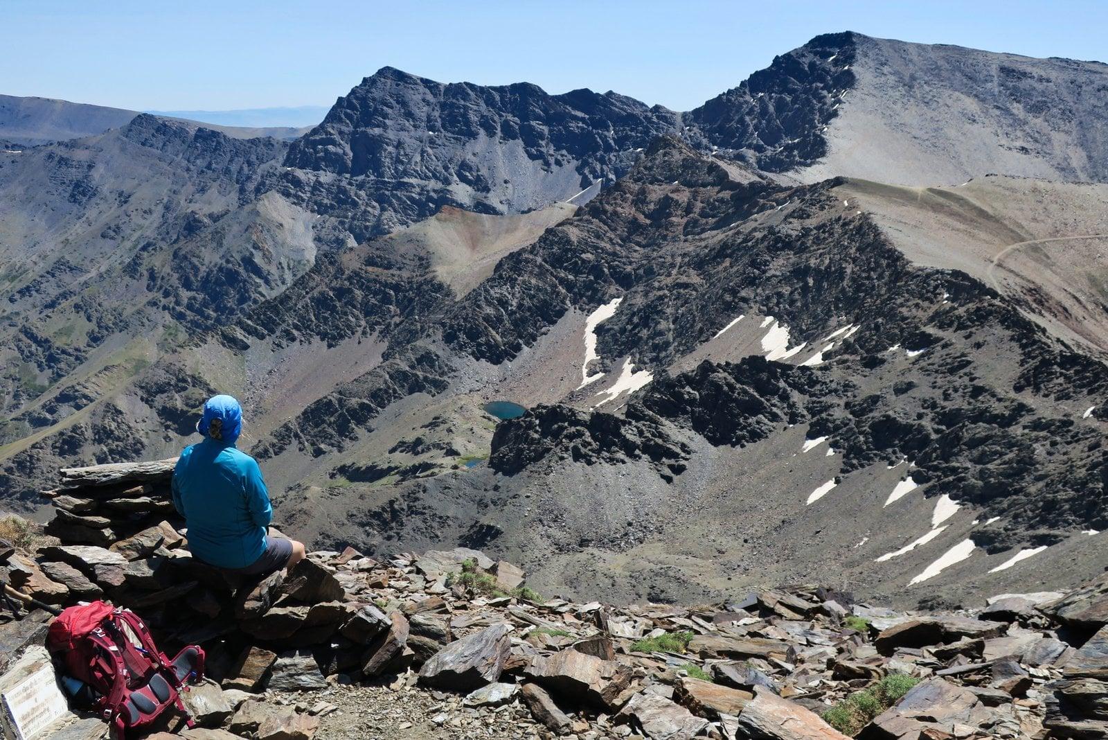 On Cerro de los Machos looking towards Alcazaba and Mulhacen