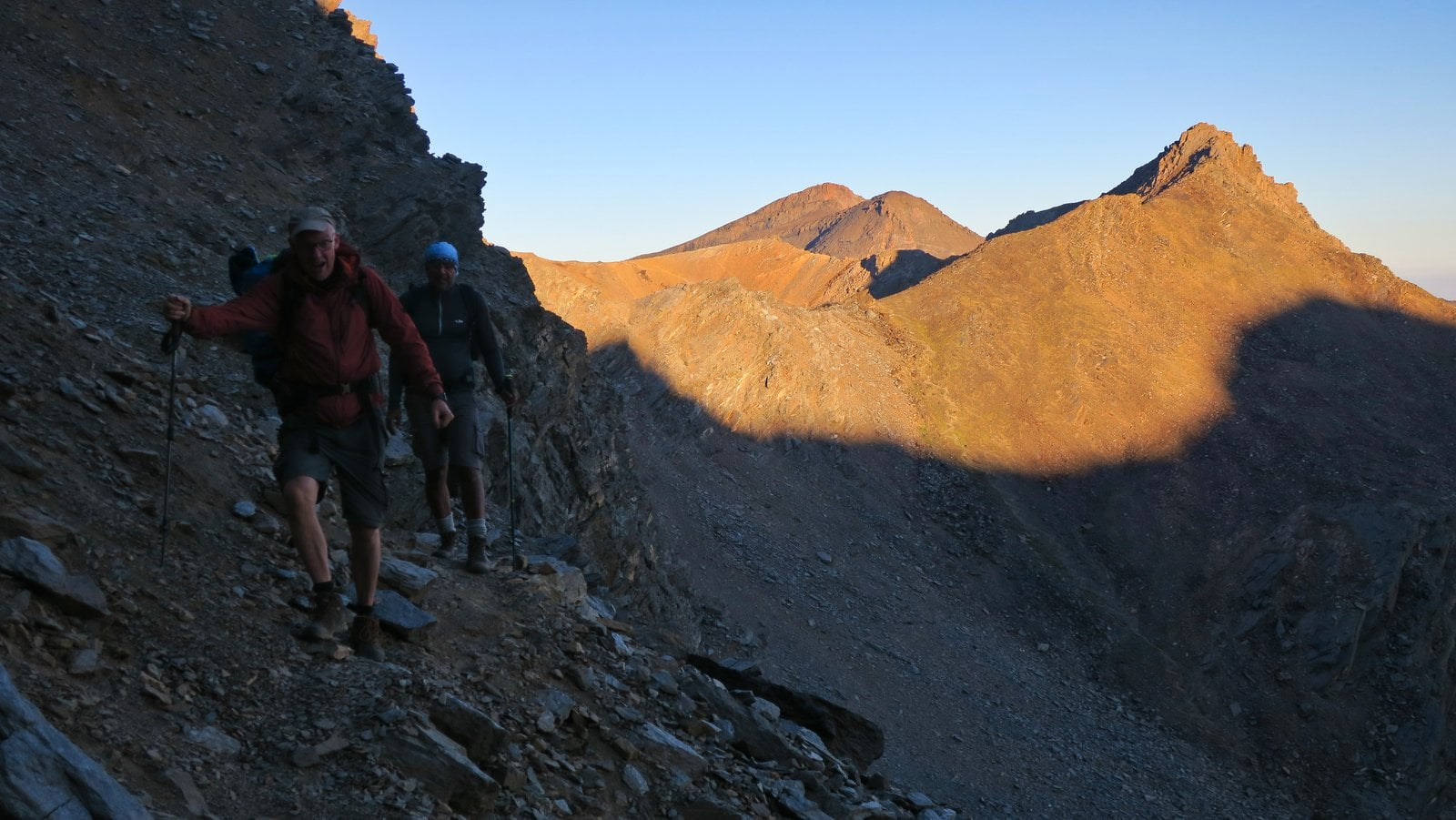 Edging our way carefully across Mulhacen's north face