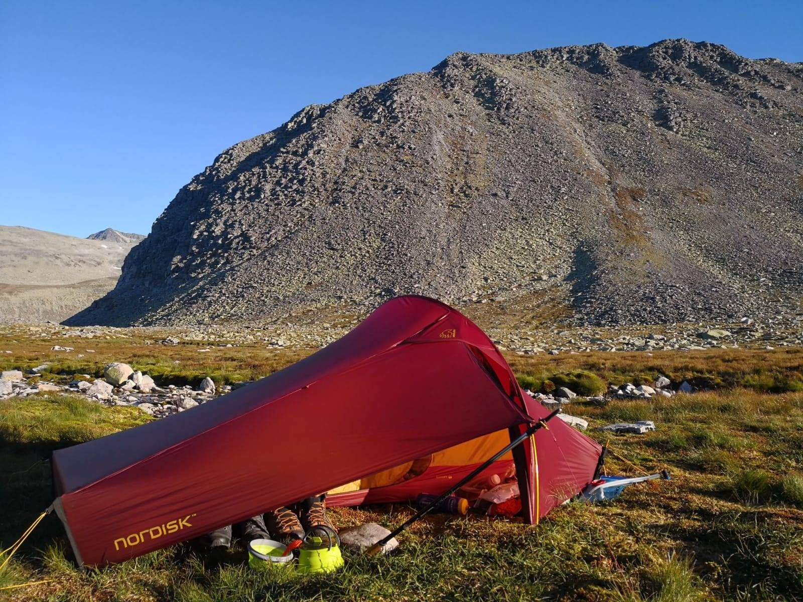 Our guide Chris uses a Nordisk sub-1kg tent on his Fastpack adventures