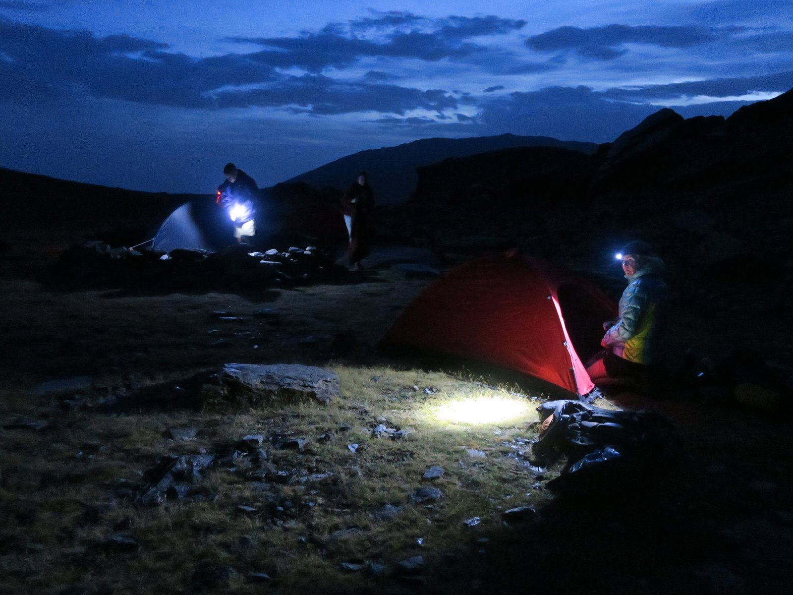 Striking camp at first light in the Sierra Nevada