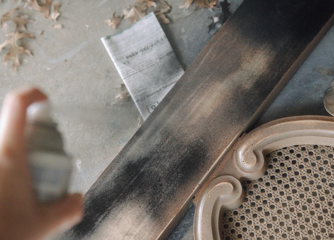 spraypainting headboard
