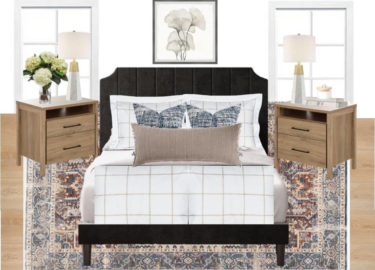 spring bedroom decor moodboard