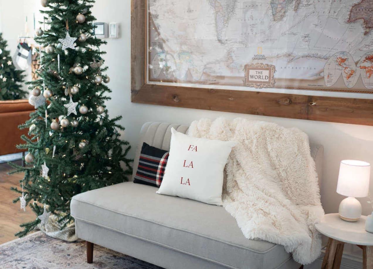 jocelyn sofa with christmas tree