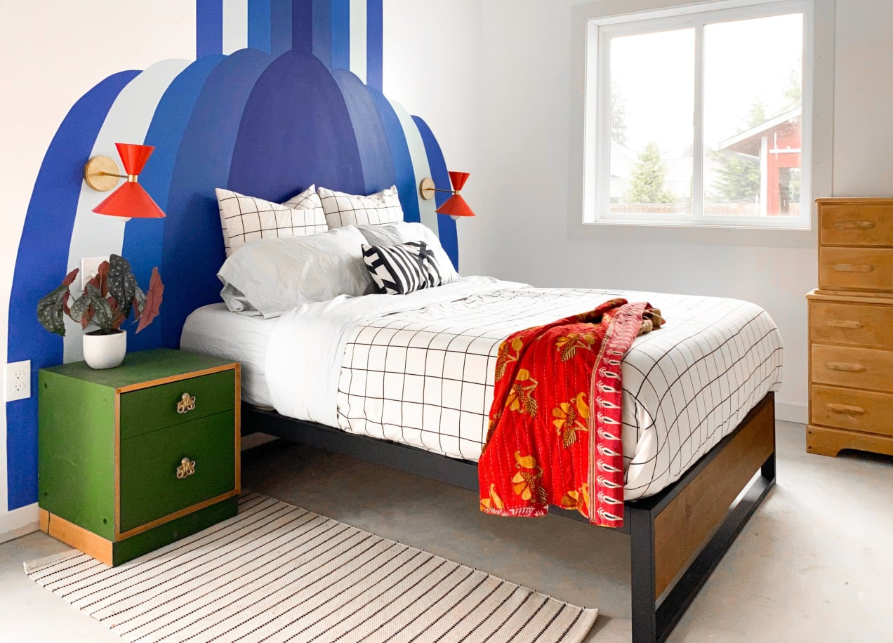 suzanne platform bed frame in bedroom