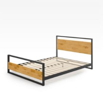 Wood and metal platform bed
