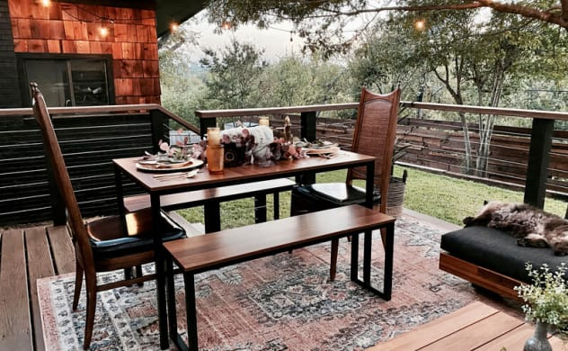 dining set with table decor