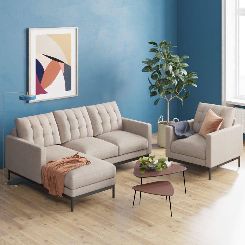 Sectional sofa and an armchair in a living room