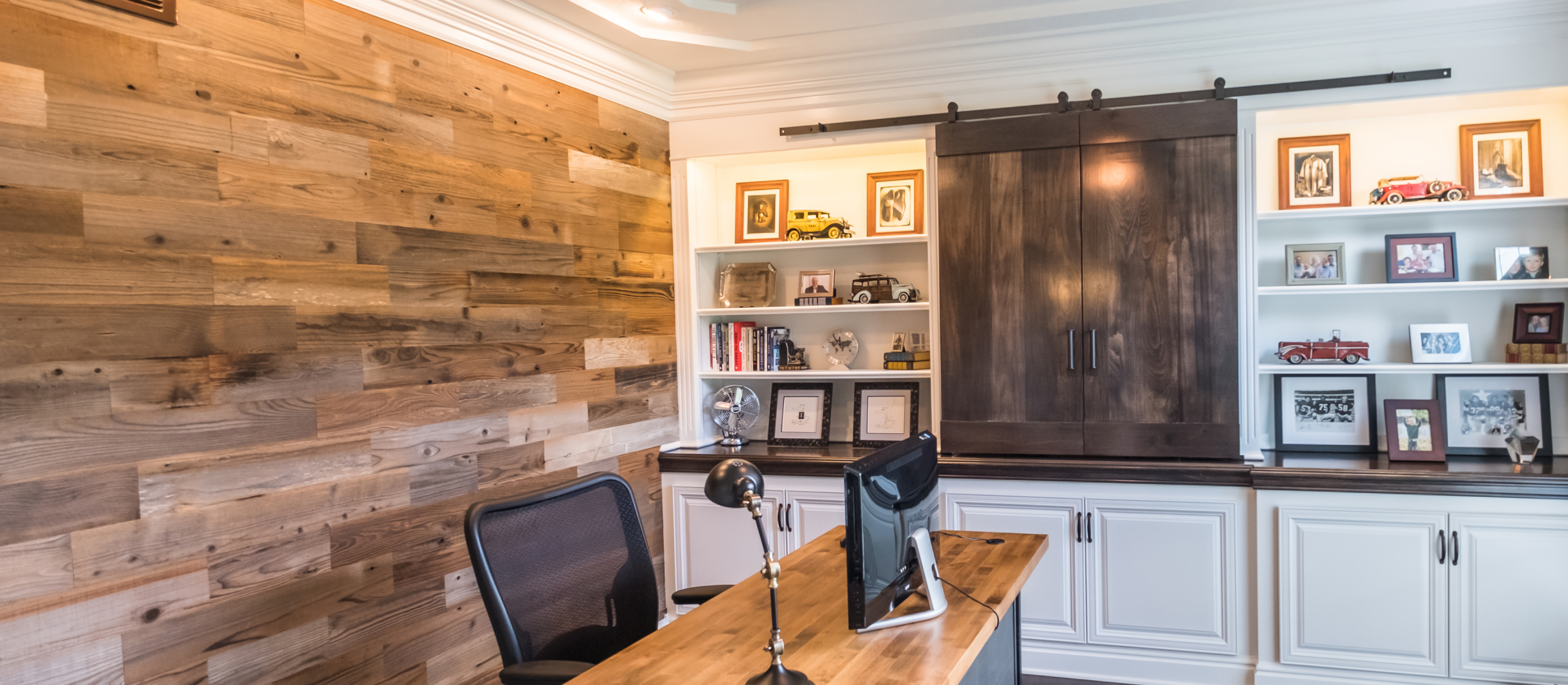 Traditional classic home office with a Stikwood real reclaimed redwood peel and stick wood plank focal accent wall with brown, red, silver, gray and gold colors.
