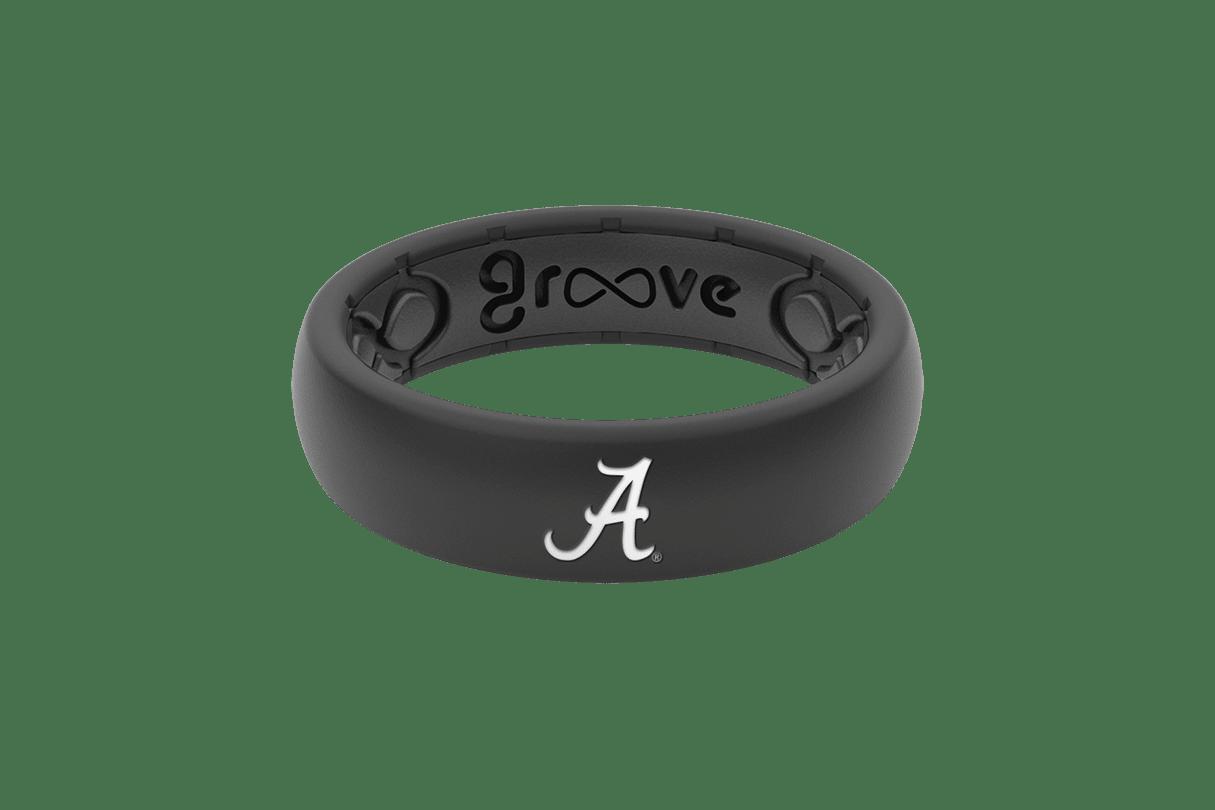Thin College Alabama Black Logo - Groove Life Silicone Wedding Rings