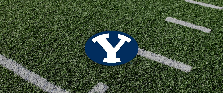 Brigham Young logo on football field