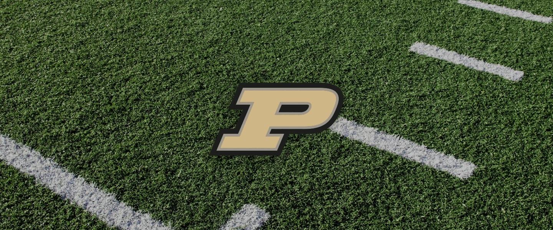 Purdue logo on football field