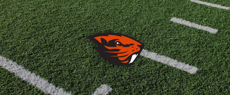 Oregon State logo on football field
