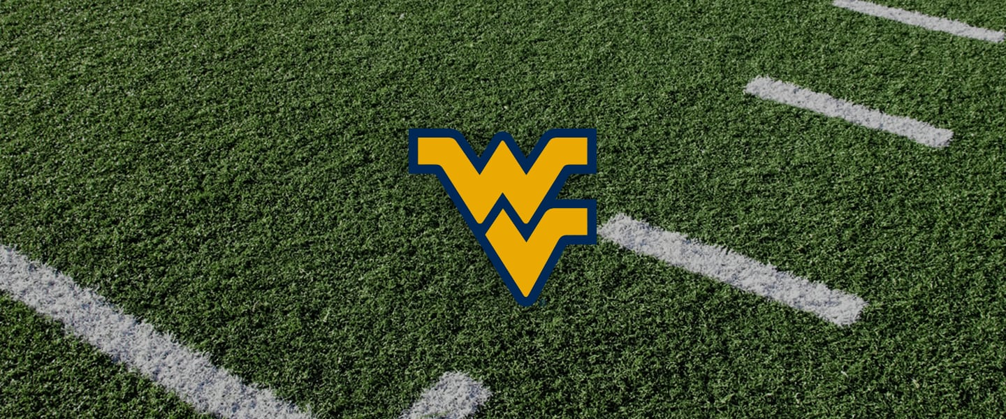 West Virginia Collegiate Silicone Rings, WV logo overlaid on a football field