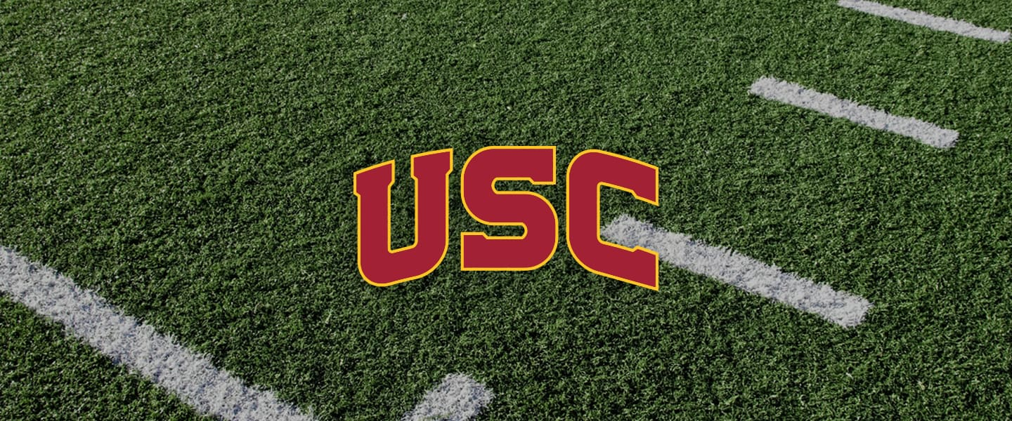 Southern California logo on football field
