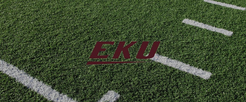 Eastern Kentucky University logo on football field