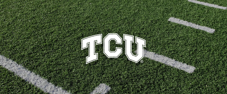 TCU logo on football field
