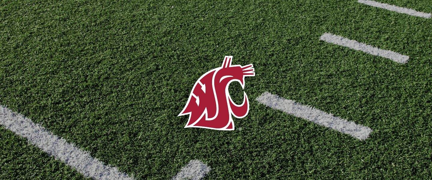 Washington State logo on football field