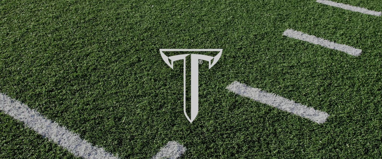 Troy logo on football field