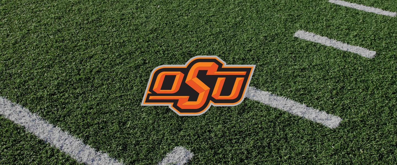 Oklahoma State logo on football field