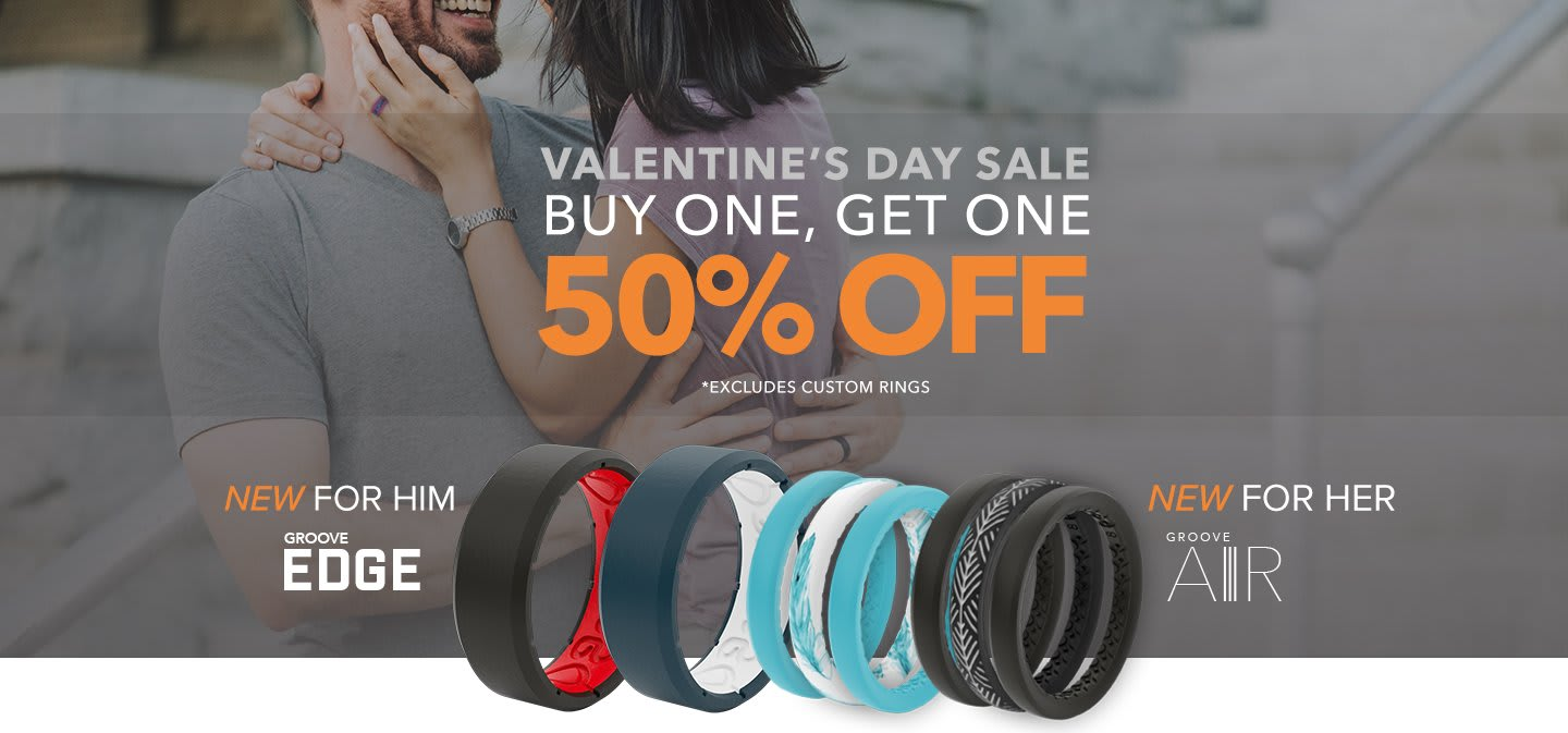 Valentine's Day Sale, Buy One Get One 50% off, featuring the new edge rings and stackable ring overlaid on a couple