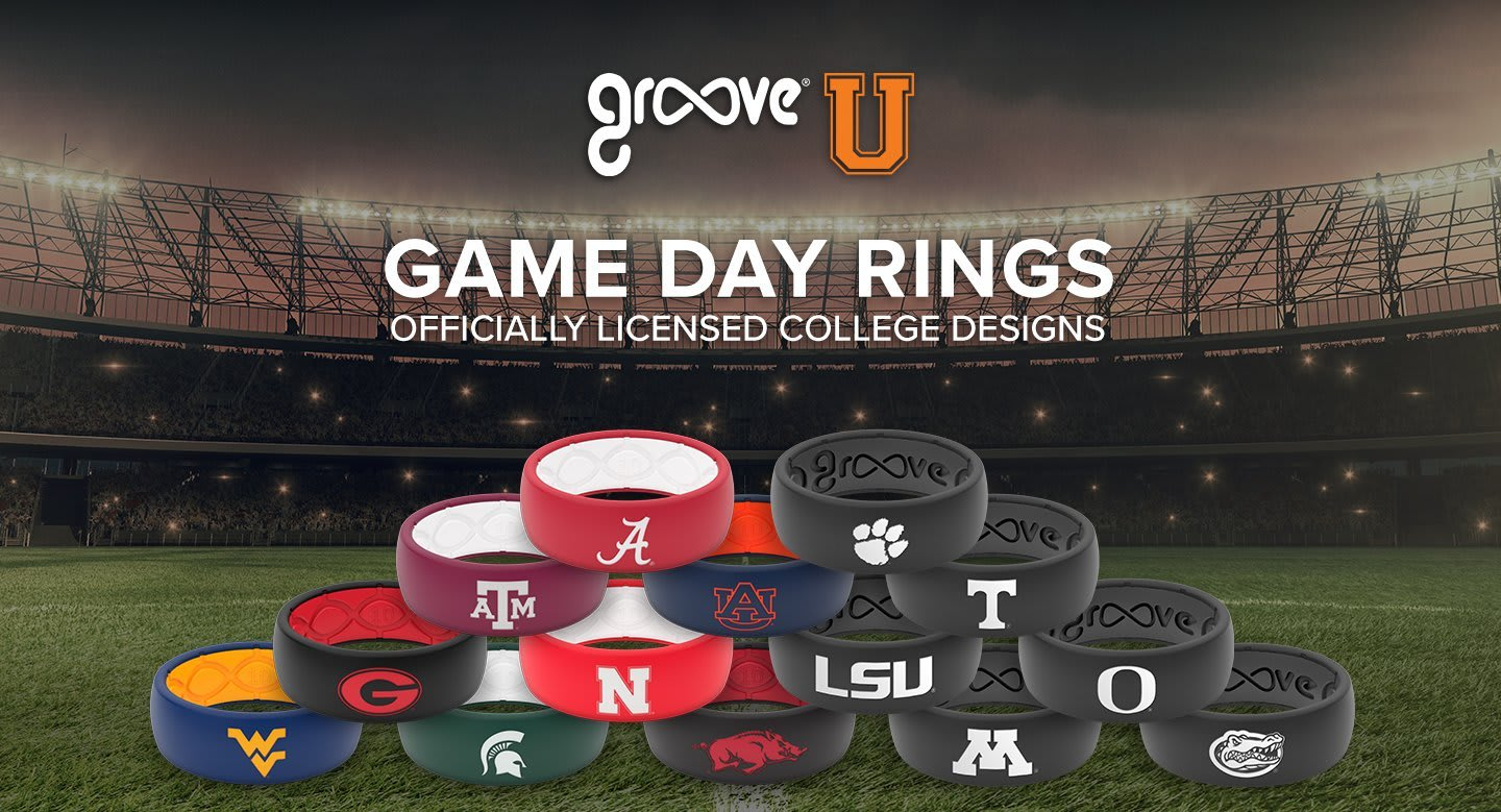 College rings, many college rings in a pyramid in a football stadium