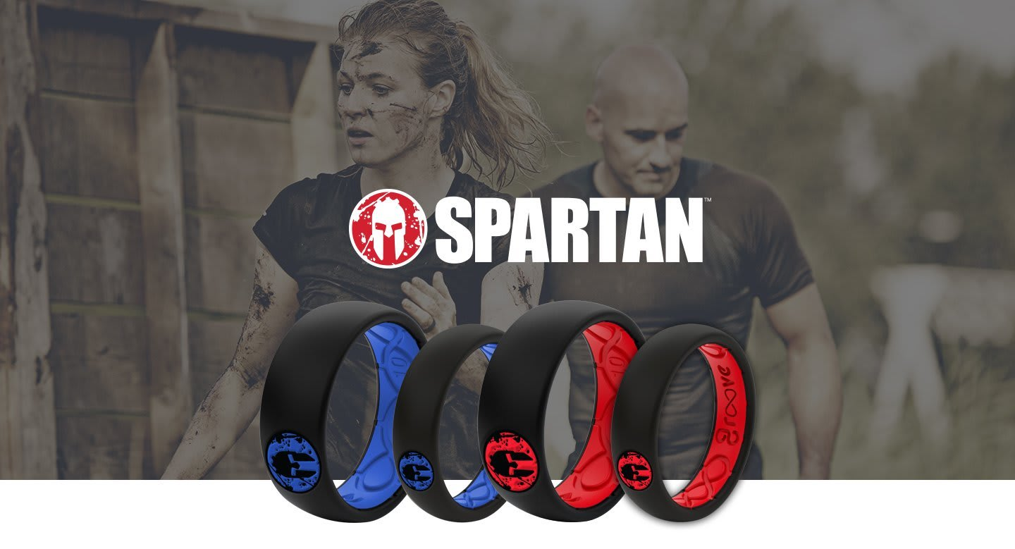 Spartan Hero, Spartan rings overlaid on two runners in the Spartan race