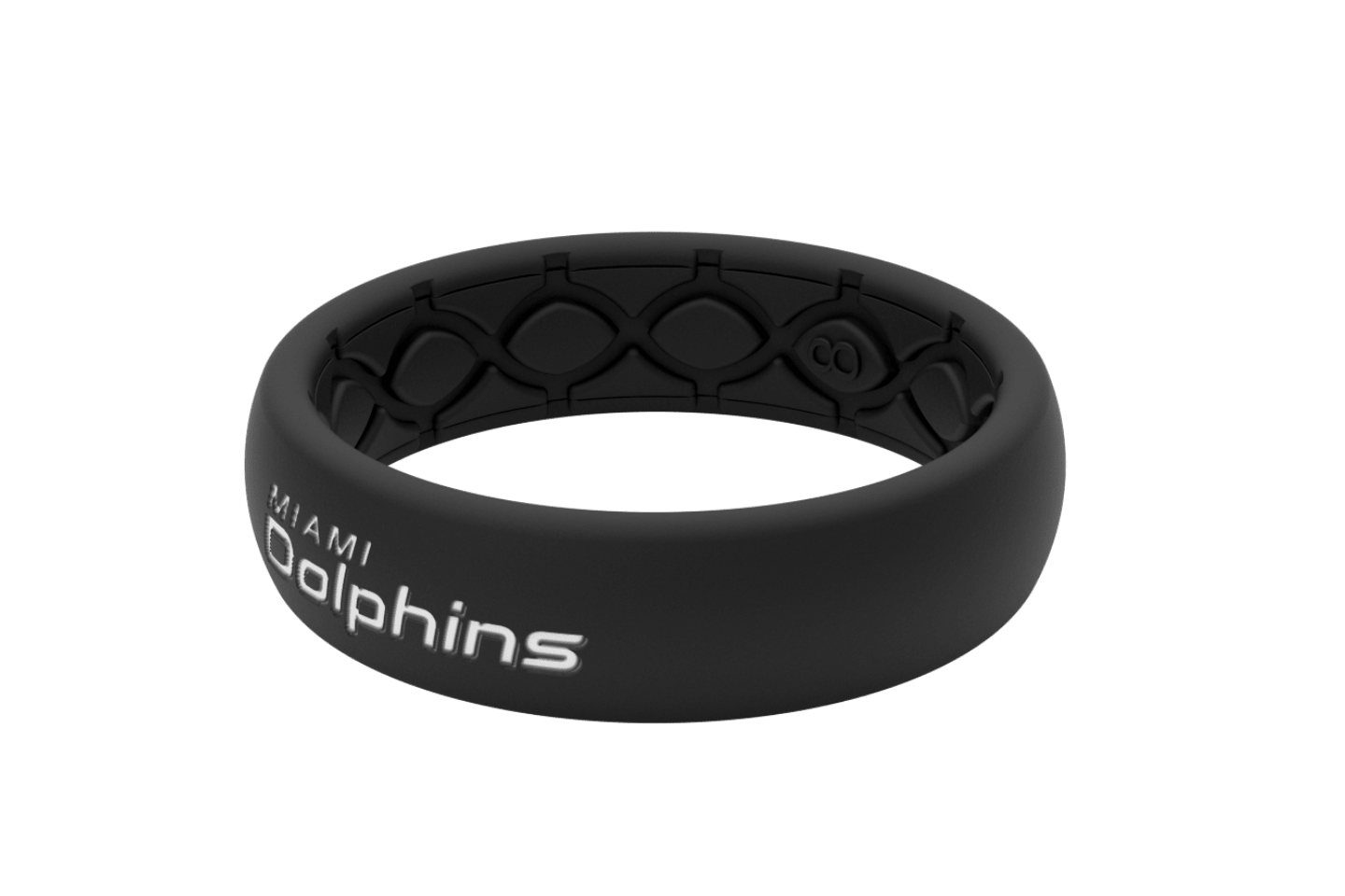 Thin NFL Miami Dolphins Black - Groove Life Silicone Wedding Rings