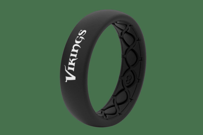 Thin NFL Minnesota Vikings Black - Groove Life Silicone Wedding Rings