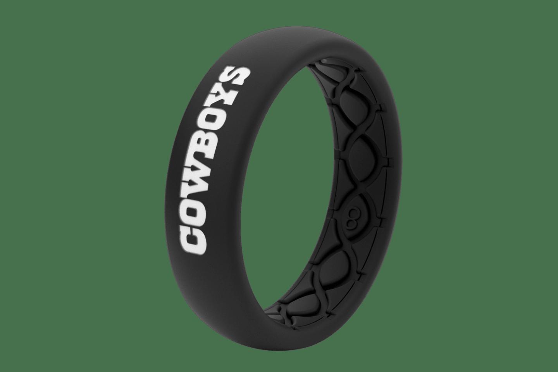 Thin NFL Dallas Cowboys Black - Groove Life Silicone Wedding Rings
