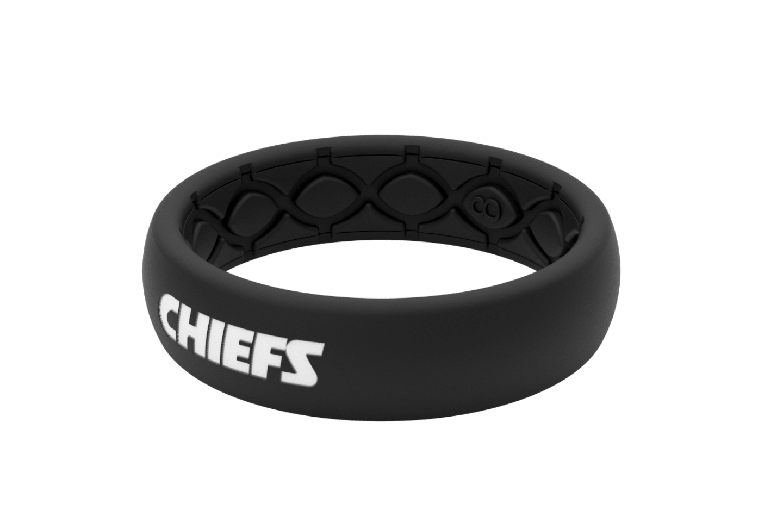 Thin NFL Kansas City Chiefs Black - Groove Life Silicone Wedding Rings