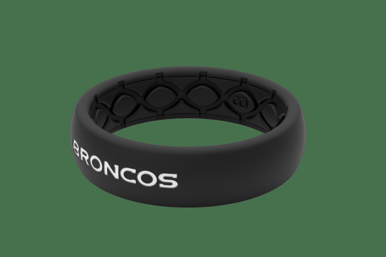 Thin NFL Denver Broncos Black - Groove Life Silicone Wedding Rings
