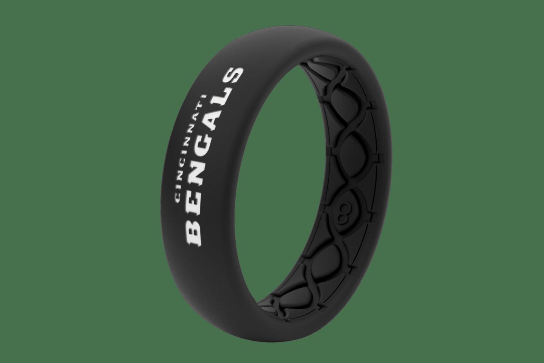 Thin NFL Cincinnati Bengals Black - Groove Life Silicone Wedding Rings