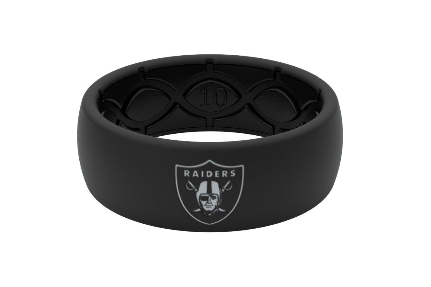 Original NFL Las Vegas Raiders With Silver Fill - Groove Life Silicone Wedding Rings
